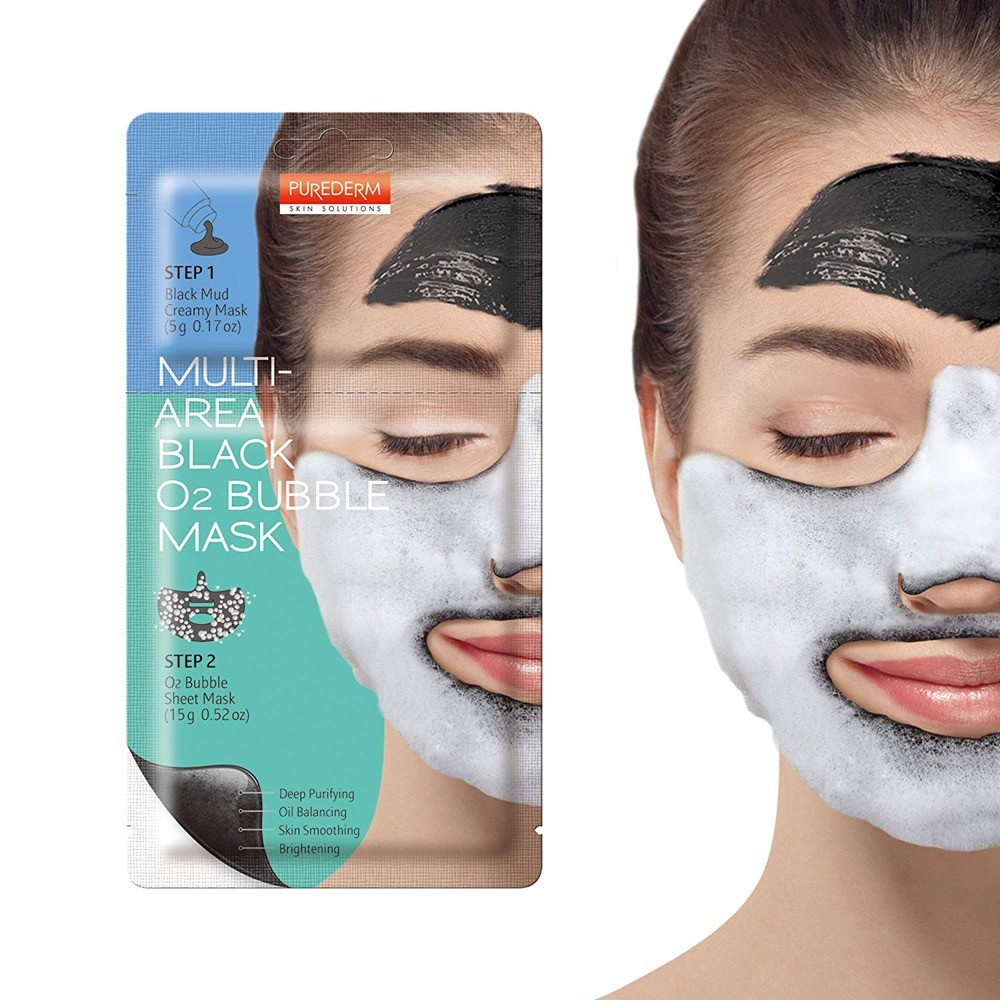 Purederm Multi-Area Black O2 Bubble Mask - двухкомпонентная очищающая кислородная маска для лица;