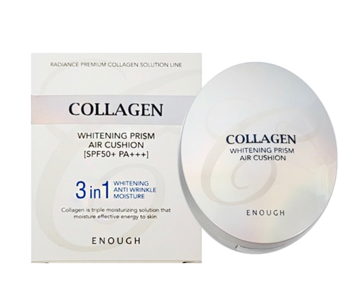 Enough Collagen Whitening Prism Air Cushion -  кушон осветляющий с коллагеном; Срок годности до 21.08.2021 г.